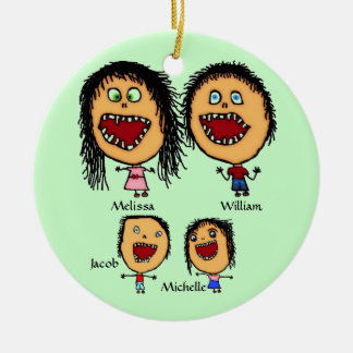 Crazy Family of Parents with Two Children Cartoon Christmas Ornament
