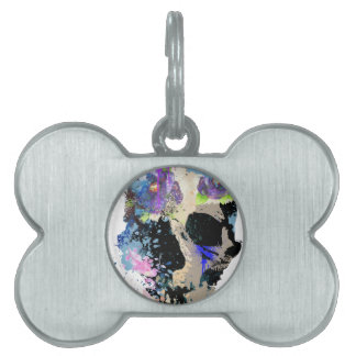 Crazy Fantasy Skull Skeleton Paint Colourful Pet ID Tag