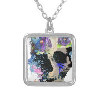 Crazy Fantasy Skull Skeleton Paint Colourful Silver Plated Necklace