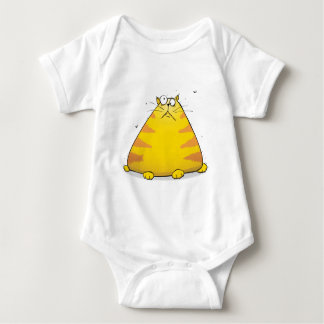 Crazy Fat Cat Funny Baby Creeper Body Suit - White