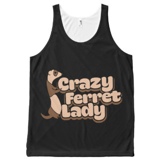 Crazy Ferret Lady All-Over Print Tank Top