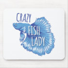 crazy fish lady new fighting fish mouse mat