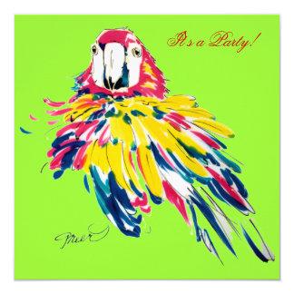 Crazy Fluffy Parrot 13 Cm X 13 Cm Square Invitation Card