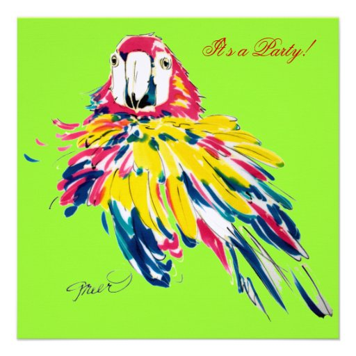Crazy Fluffy Parrot Invitations