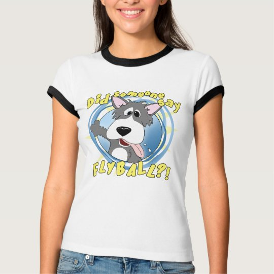 Crazy Flyball Dog Ladies Ringer T-Shirt