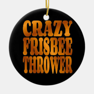 Crazy Frisbee Thrower in Gold Christmas Ornament