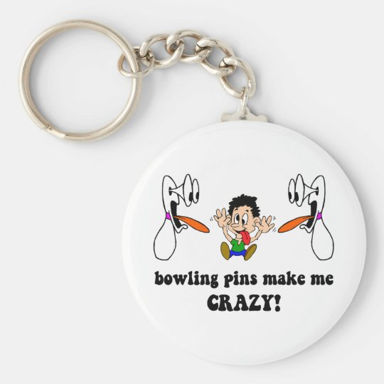Crazy funny bowling basic round button key ring