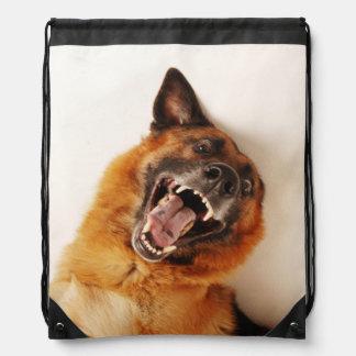 Crazy funny dog drawstring bags