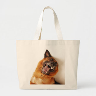 Crazy funny dog large tote bag
