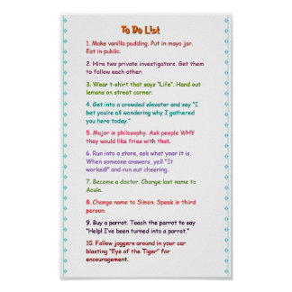 Crazy Funny Wacky Must Do Pranks To Do List Poster