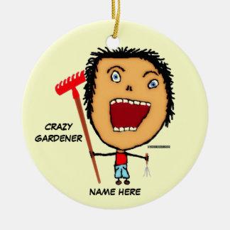 Crazy Gardener Cartoon Christmas Ornament