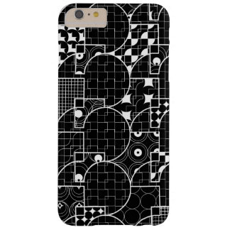Crazy Geek Geometric white pattern on Black Barely There iPhone 6 Plus Case