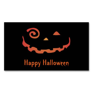 Crazy Glowing Halloween Pumpkin Magnetic Business Cards