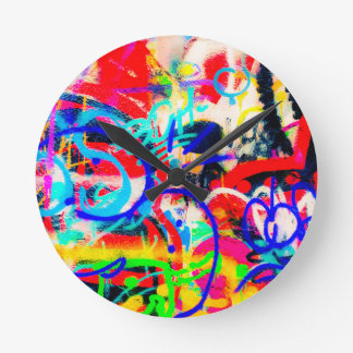 Crazy Graffiti Round Clock