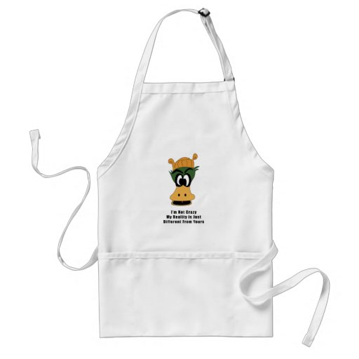 Crazy Green Cartoon Duck Different Reality Aprons