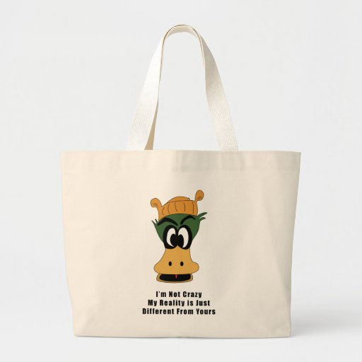 Crazy Green Cartoon Duck Different Reality Tote Bag