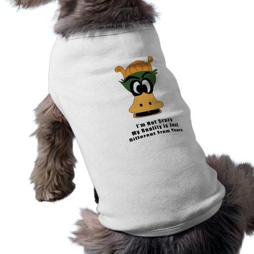 Crazy Green Cartoon Duck Different Reality Dog T-shirt