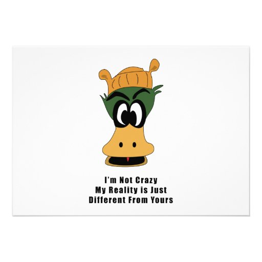 Crazy Green Cartoon Duck Different Reality Personalized Announcements