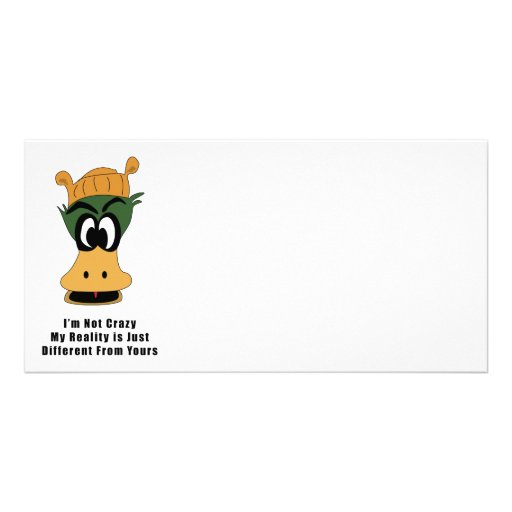 Crazy Green Cartoon Duck Different Reality Customized Photo Card
