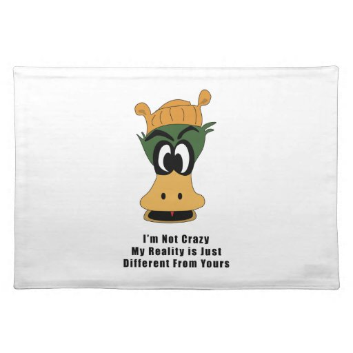 Crazy Green Cartoon Duck Different Reality Placemat
