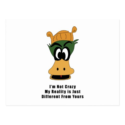 Crazy Green Cartoon Duck Different Reality Post Card