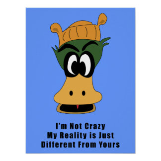 Crazy Green Cartoon Duck Different Reality Poster
