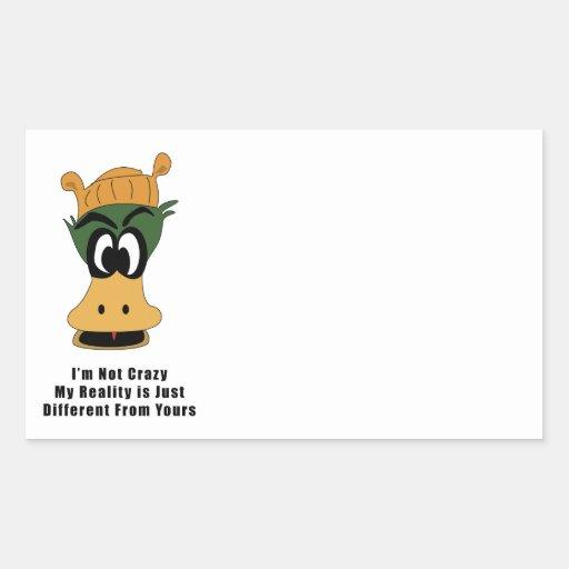 Crazy Green Cartoon Duck Different Reality Rectangle Sticker