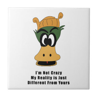 Crazy Green Cartoon Duck Different Reality Tiles