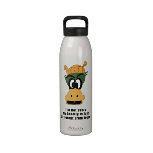 Crazy Green Cartoon Duck Different Reality Reusable Water Bottle