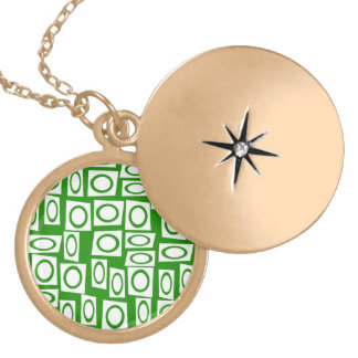 Crazy Green White Fun Circle Square Pattern Lockets