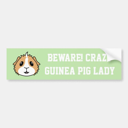 Crazy Guinea Pig Woman Car Bumper Sticker