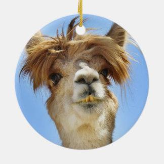 Crazy Hair Alpaca Christmas Ornament