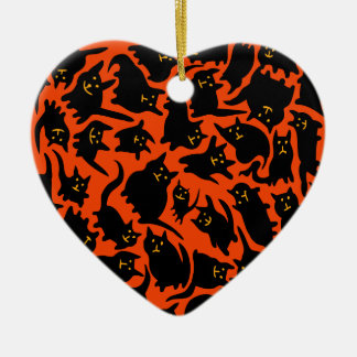 Crazy Halloween Cats Heart Ornament
