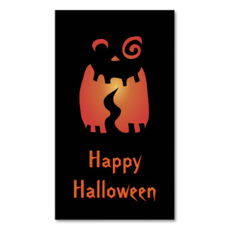 Crazy Halloween Pumpkin Magnetic Business Cards