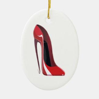 Crazy heel red stiletto shoe art christmas ornament