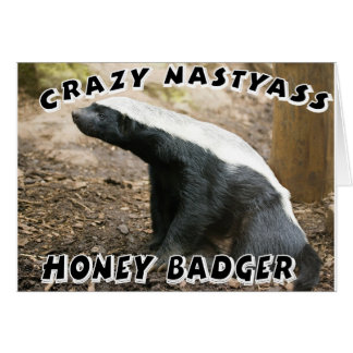 crazy honey badger greeting card