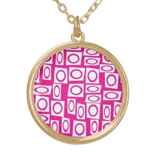 Crazy Hot Pink White Fun Circle Square Pattern Custom Jewelry