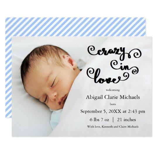 Crazy in Love Blue - Birth Announcement