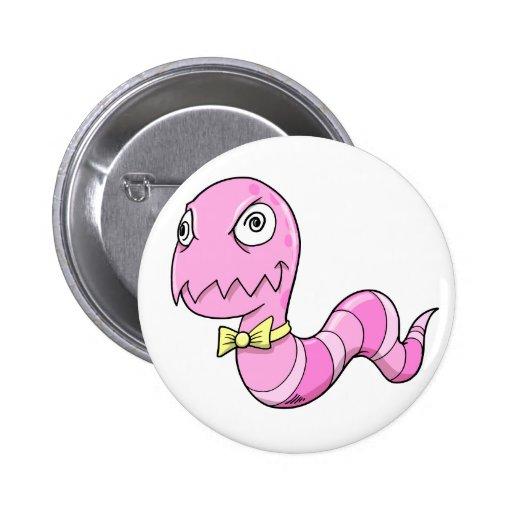 Crazy Insane Pink Worm Button