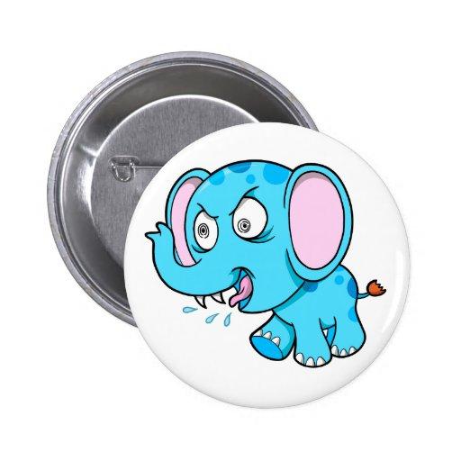 Crazy Insane Raging Blue Elephant Button