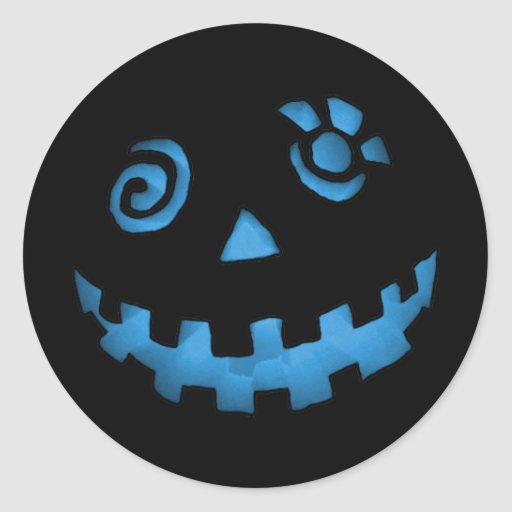 Crazy Jack O Lantern Pumpkin Face Blue Stickers