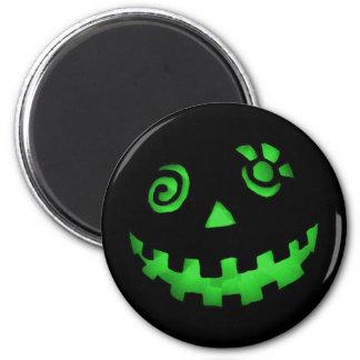 Crazy Jack O Lantern Pumpkin Face Green 6 Cm Round Magnet