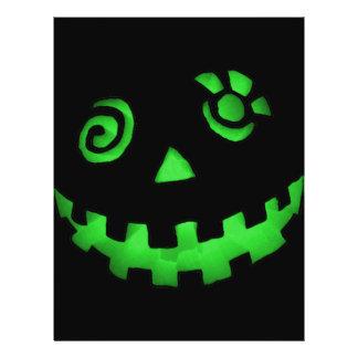 Crazy Jack O Lantern Pumpkin Face Green Flyer Design