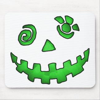 Crazy Jack O Lantern Pumpkin Face Green Mouse Pads