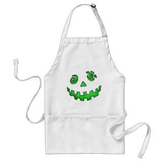 Crazy Jack O Lantern Pumpkin Face Green Standard Apron