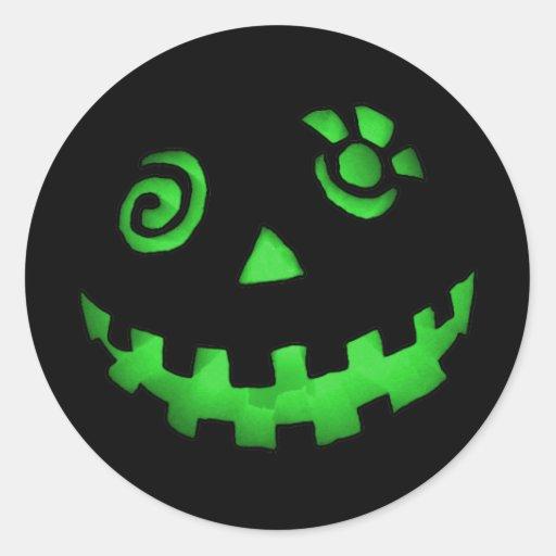 Crazy Jack O Lantern Pumpkin Face Green Round Sticker