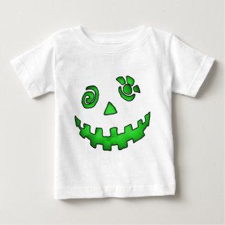 Crazy Jack O Lantern Pumpkin Face Green Tee Shirt