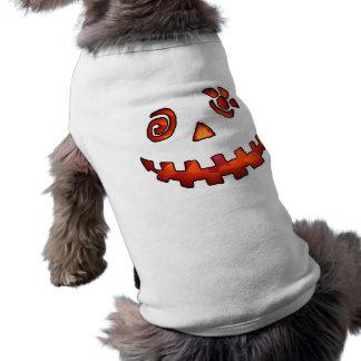 Crazy Jack O Lantern Pumpkin Face Orange Doggie Shirt