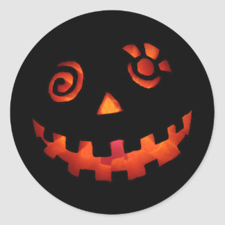 Crazy Jack O Lantern Pumpkin Face Orange Round Stickers