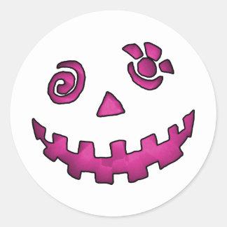 Crazy Jack O Lantern Pumpkin Face Pink Stickers